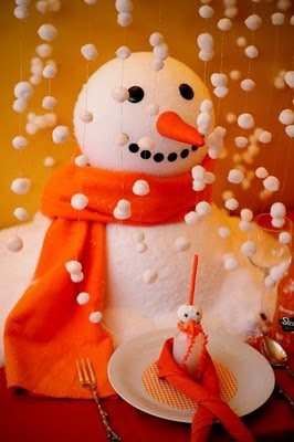 Falling snow made of cotton balls for snowman party